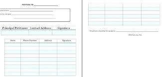 Signature Sheet Template Free Petition Blank Word