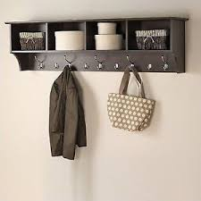 Entryway Shelf And Coat Rack Espresso 100 Wide Hanging Entryway Shelf Coat Rack Storage Office PP 37