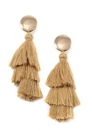 exclusive gold circle tassel earrings