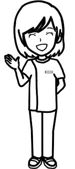 女性ポーズ右手を出す 白黒線画リハビリセラピストptotst