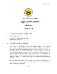 Construction Proposal Format Best Request For Proposal RFP Building Construction Management