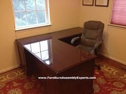 assembled office desks. Sauder L Shaped Office Desk From Staples Assembled For A Company In Philadelphia By Furniture Desks