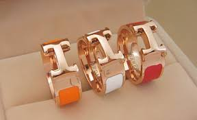 hermes enamel clic h h rings red and gold