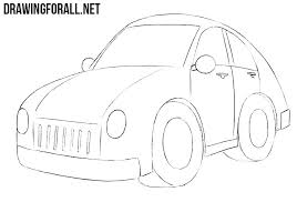 car drawing easy step by step.  Easy How To Draw A Cartoon Car Easy To Car Drawing Easy Step By K