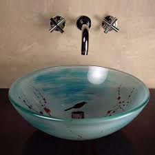constructed from durable fused warm glass light blue semi translucent bowl with cherry blossom design this top mounted vessel sink is crafted of tempered