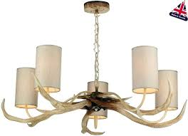 hunt antler 5 light rustic cream chandelier drum shades burlap