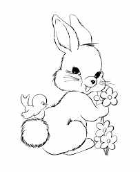 Small Picture Bunny coloring pages with bird and flowers ColoringStar