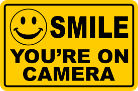 Smile Youre On Camera Yellow Business Security Sign Cctv Video