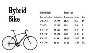 Hybrid Size Chart 44 Perspicuous Mens Bike Size