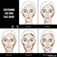 contouring makeup for diffe types of woman s face vector set of diffe forms of female face how to put on perfect make up