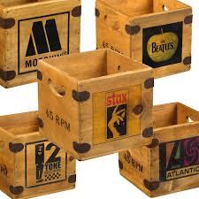island records 7 record box singles vintage wooden vinyl crate