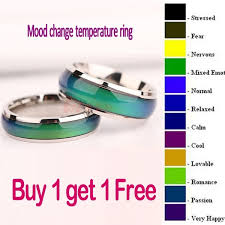 You Re In The Mood Ring Color Chart 2pc Fine Jewelry Mood Ring Color Change Emotion Feeling Mood Ring Changeable Band Temperature Ring