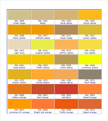 Ral Chart Download Free 8 Sample Ral Color Chart Templates In Pdf