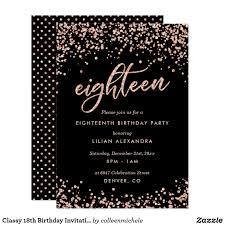 Design Your Own 18th Birthday Invitations Classy 18th Birthday Invitation Rose Gold Confetti Zazzle