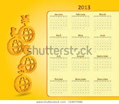 Monthly Calendar 2013 Classical Monthly Calendar 2013 Currency Signs Stock Vector