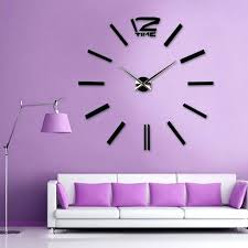 purple wall clocks home decoration wall max clock big mirror wall clock modern size wall sticker