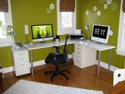 office decoration themes. Design Ideas, Green Wall Paint Decoration Wooden Laminate Flooring White Corner L Shaped Workbench Budget Office Themes