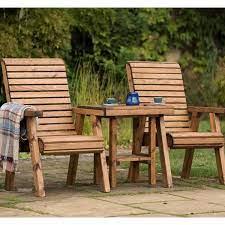 wooden garden companion seat love seat