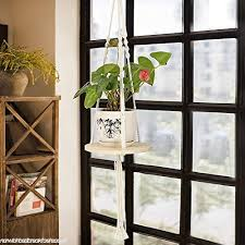 lulalula solid wood hanging shelf planters macrame plant hanger 45 hanging swing rope floating shelves baskets for indoor outdoor