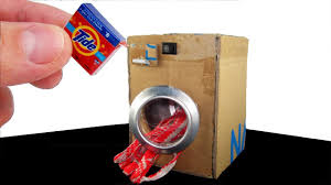 Miniature Washing Machine Diy Homemade Realistic Mini Washing Machine Toy Washer Youtube