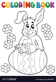 coloring book easter rabbit theme 5 vector image