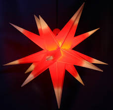 Außenstern Stern Wetterfest Rot Mit Weißen Spitzen