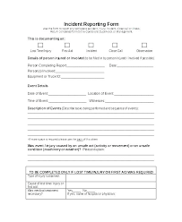Injury Incident Report Template Employee Report Of Injury Template