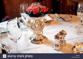 Table Setting In French Paris France French Haute Cuisine Restaurant Detail Table