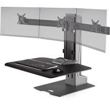innovative winston e electric triple monitor sit stand workstation