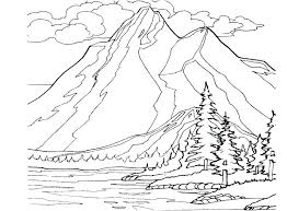 Printable Scenic Coloring Pages Free For Adults Scenery Of Mountains