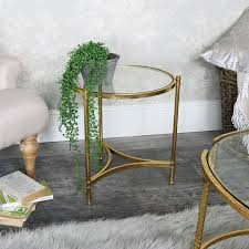 gold metal side table round coffee