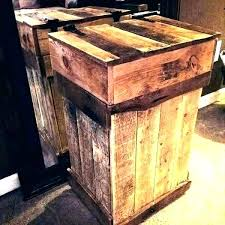wooden storage crates wood pellet containers bin outdoor trash cabinet