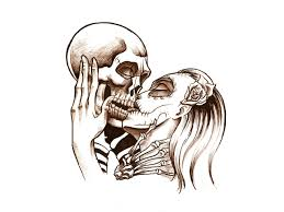 эскиз тату с изображением скелета