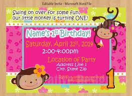Monkey Invitations for 1st Birthday Girl Invitation Decorations Baby Boys