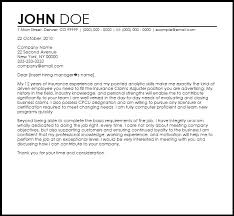 Free Insurance Claims Adjuster Cover Letter Templates Best Ideas Of