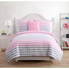 cotton gray and pink comforter set
