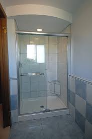 bathroom, Small Bathroom With Glass Shower Enclosure Plus Delectable Blue  Accents Chess Pattern Tiles Wall