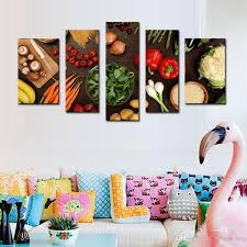 wall art painting table top full of fresh vegetables fruit and other healthy foods on canvas for home living room decor unframed canvas wall art paintings