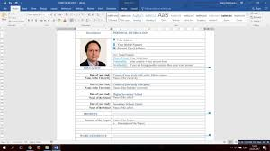 Curriculum Word How To Make A Curriculum Vitae In Word 2016 Youtube
