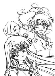 Small Picture Sailor Jupiter and Sailor Mars in Sailor Moon Coloring Page