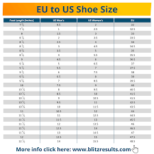 European Size Chart Clothing Shoe Size Conversion Charts Uk To Us Eu To Us All