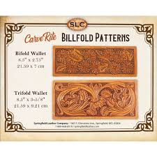 details about springfield leather co veg tan leather carve rite fl billfold wallet aid