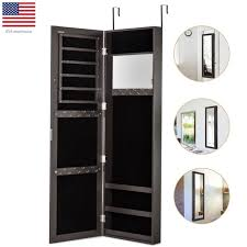 over the door mirrored jewelry armoire wall mount organizer chest cabinet brown