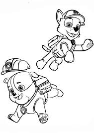 Paw Patrol Coloring And Paw Patrol Rubble And Rocky Coloring Page