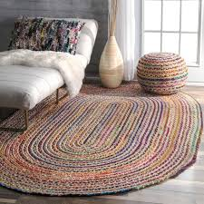 nuloom multicolor aleen braided cotton jute oval rug 7 feet by 9 feet