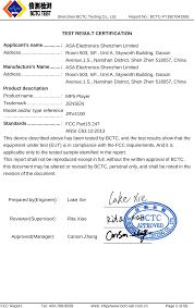 Jrv4100 Mp5 Player Test Report Asa Electronics Shenzhen