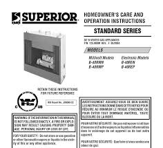 superior fireplaces b 40 care and operation manual