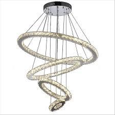 Luminaire Chandelier Lighting 4 Rings Crystal Chandeliers Lighting Stainless Steel Hanging