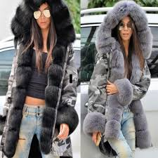 details about uk women winter faux fur coat military jackets thick warm parka with fur lining