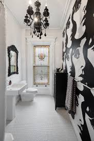 contemporary bathroom chandeliers bathroom eclectic with black chandelier black chandelier stained glass window
